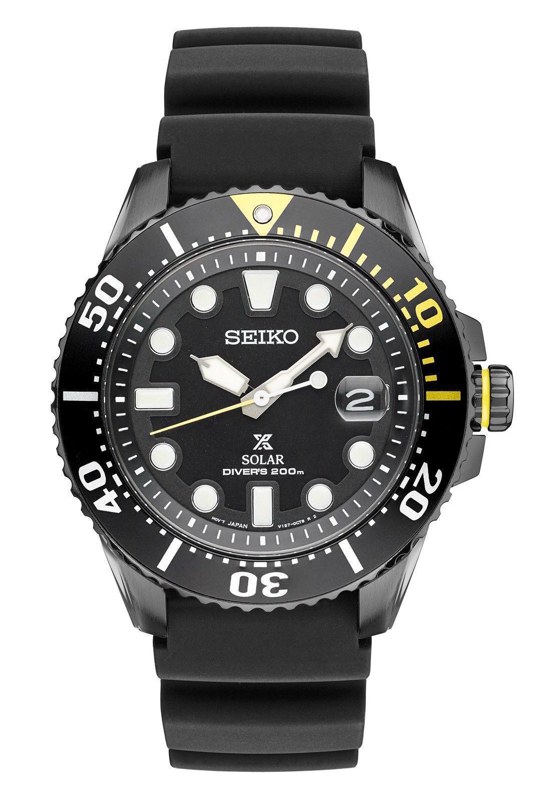 Seiko Men's Prospex Solar Diver Black Silicone Strap Watch 4