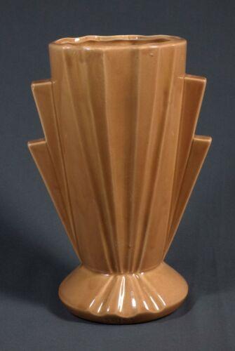 """Vintage  Art Pottery Art Deco Fan Vase Salmon Color 12"""""""