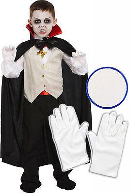 Boys Girls Kids Dracula Vampire Halloween Fancy Dress Costume Gloves Face Paint - Kids Halloween Face Paint Dracula