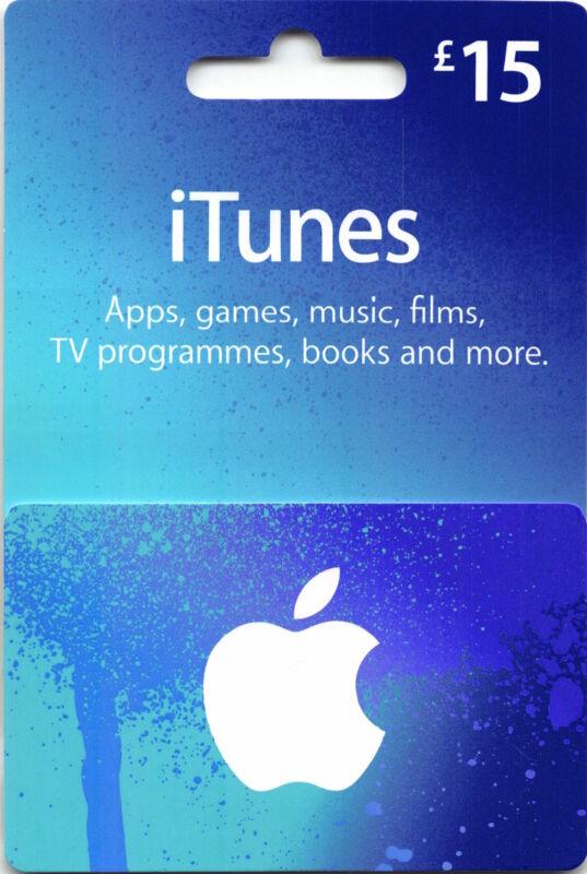 iTunes Gift Card UK  £15 GBP Apple App Store Key Code £15 Pound British English