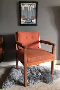Solid Wood Mid Century Orange Arm Chair