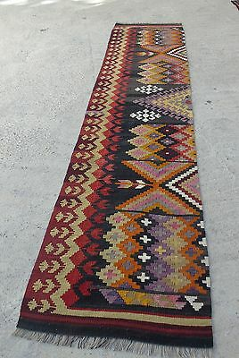 Kilim Rug Runner Bohemian Chic Orange Red Black Colored 2'4 x 12'1 / 76x371cm, used for sale  Shipping to South Africa