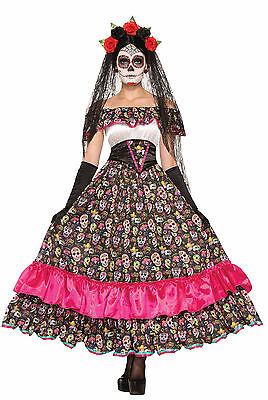 Womens Day of the Dead Spanish Lady Costume Sugar Skull Adult Size - Sugar Skull Lady Kostüm