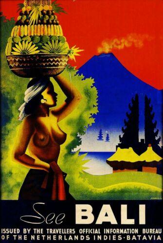 See Bali Indonesia Indonesian Woman Vintage Travel Advertisement Art Print