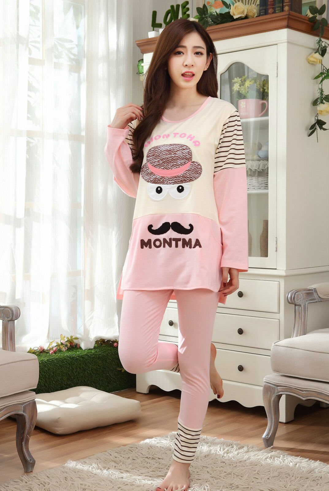 cute ladies women pink mustache long top & leggings set pyjamas