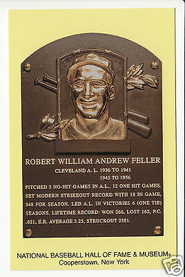 BOB FELLER Cleveland Indians Baseball Hall of Fame -HOF- Plaque NEW POSTCARD
