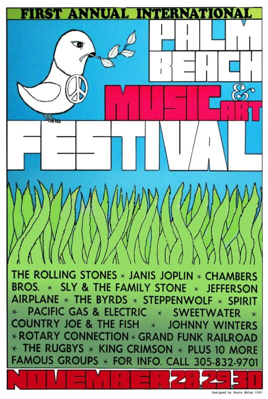 ROCK: Reproduction of the Palm Beach Music & Art Festival 1969
