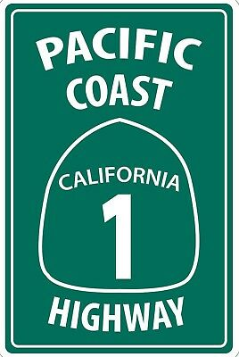 Pacific Coast Highway California 1 PCH Metal Aluminum Sign 8X12 for sale  Perkins