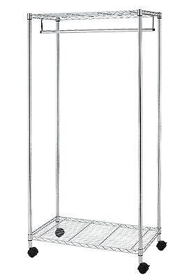 New Chrome 2-Tier Rolling Clothing Garment Rack Shelving Wire Shelf Dress G70