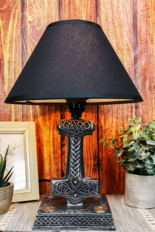 Old Norse God Of Thunder Thor Hammer Mjolnir Sculptural Table Lamp With Shade