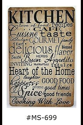 Tin Sign Kitchen Cooking Cafe Food Love Quotes Sayings Retro Metal Signs Plaques