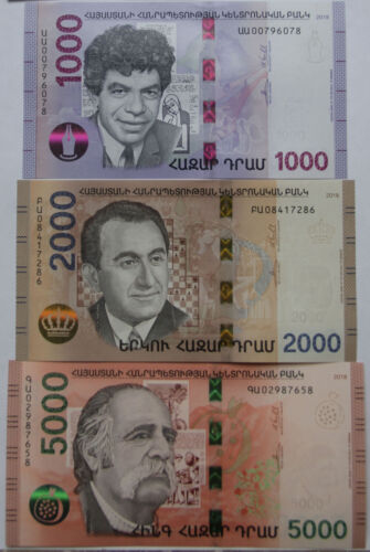 Armenia 2018 NEW Banknote - 1000 2000 5000 Dram UNC Hybrid Technology