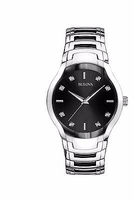 Bulova Men's 96D117 Diamond Markers Black Dial Stainless Steel Dress Watch