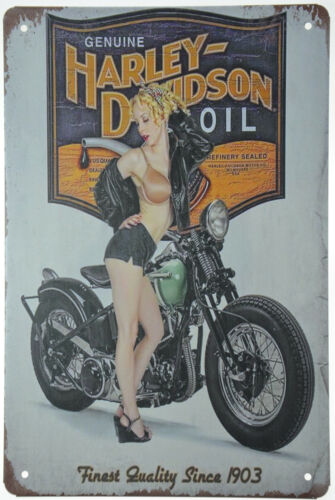 """Harley Davidson Motorcycle Oil Can Bobber + Babe Retro Metal Tin Sign 8x12"""" NEW"""
