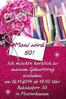 40 Einladungskarten Geburtstag Einladungen Frau Blumen Sekt JEDES ALTER 50 60 70