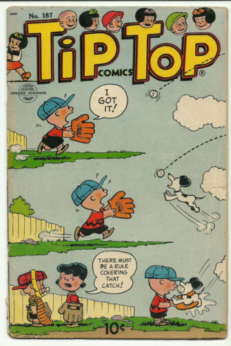 Vintage Tip Top Comics #187 July 1954 Peanuts cover