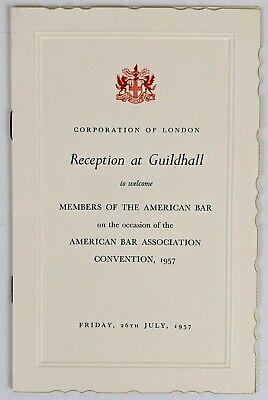 1957 American Bar Association Convention Guildhall Reception Invitation London