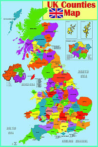 GLOSS LAMINATED UK COUNTIES MAP EDUCATIONAL POSTER WALL CHART/SIZE APP.38.2X57cm