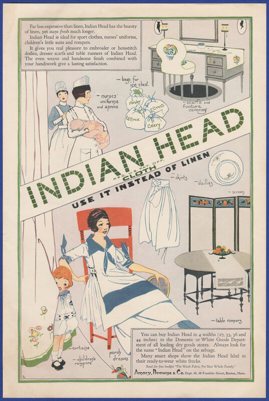 Vintage 1918 INDIAN HEAD Cloth Nurses Uniform Porch Dresses Ephemera Print Ad
