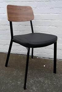 New Walnut Estelle Dining Chairs Black Metal Bar Cafe Furniture Melbourne CBD Melbourne City Preview