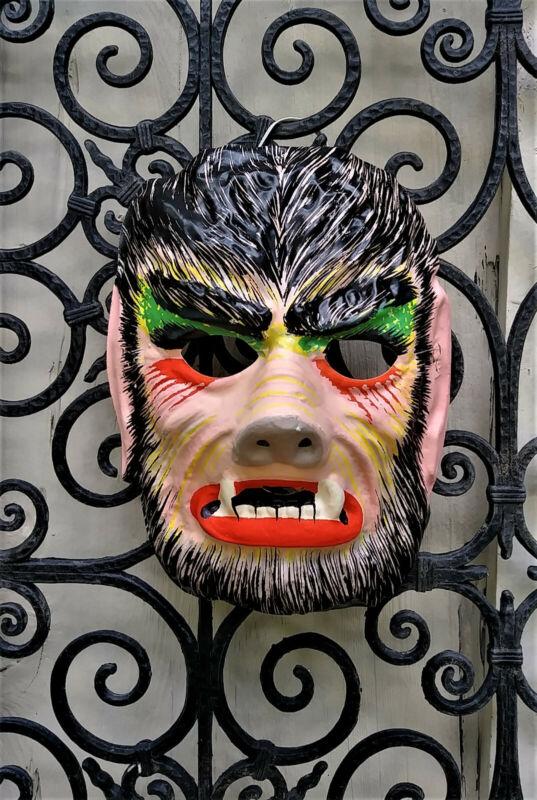 Vintage Ben Cooper Collegeville Plastic WOLFMAN Monster Halloween Mask Unused