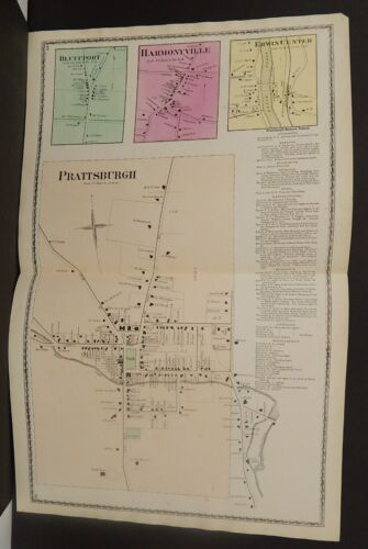 New York Steuben County Map Prattsburgh 1873 Double Page  J20#93