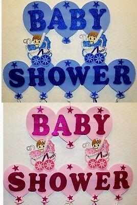 Baby Shower Banner Hangable Foam Wall Decorations Girl & Boy Pink Blue (Baby Blue Foams)