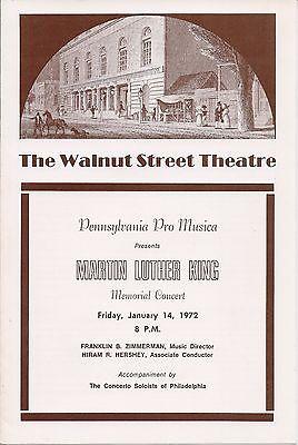 Penna. Pro Musica, Martin Luther King, Walnut Street Theatre, Playbill, 1972