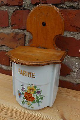 altes französisches Mehlfaß / Farine aus Porzellan mit Holzdeckel um 1910