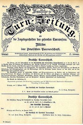 Deutsche Turnerschaft Titelblatt mit Einladung zum italienischen Turnerfest 1907