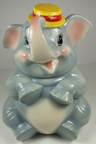 Vintage Metlox Pottery Elephant With Top Hat Figural Cookie Jar