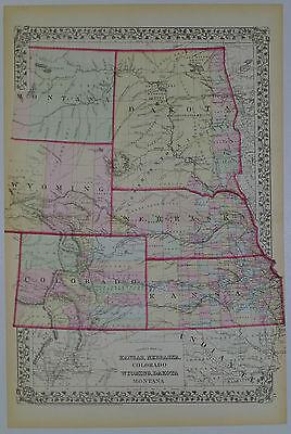 1872 Genuine Antique Map Kansas Nebraska Colorado Wyoming Dakota Mont. Mitchell