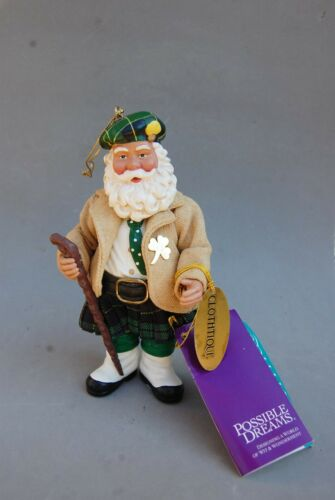 Scottish Scots Santa Claus Figure Kilt Shillelagh Clothique Possible Dreams 6""