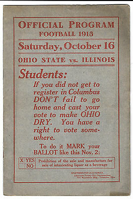 October 16, 1915 - Ohio State vs. Illinois - Full Program - RARE