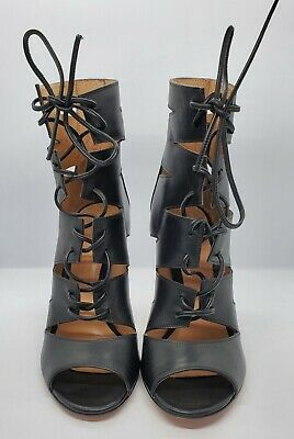 New Gianvito Rossi Black Leather Open Toe Sandals Size 37 Made In Italy