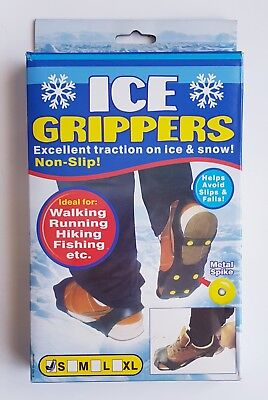 Ice Grippers Snow Grips Winter Shoes Boots Straps Metal Spikes Studs Size SMALL