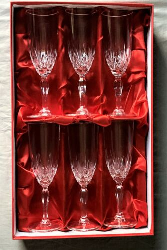 Boxed Set of (6)  Champagne Flutes Goblets-Royal Crystal Rock Linea Gala Pattern