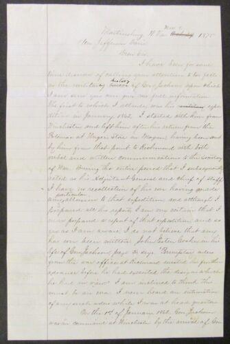 POSTBELLUM LS CHARLES FAULKNER TO JEFFERSON DAVIS 1875 STONEWALL JACKSON