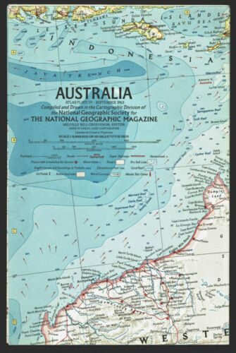 ⫸ 1963-9 August Vintage AUSTRALIA – National Geographic Map Home School A2