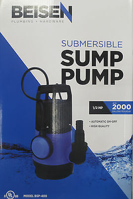 Beisen 2000gph 12hp Clean Dirty Water Submersible Pump