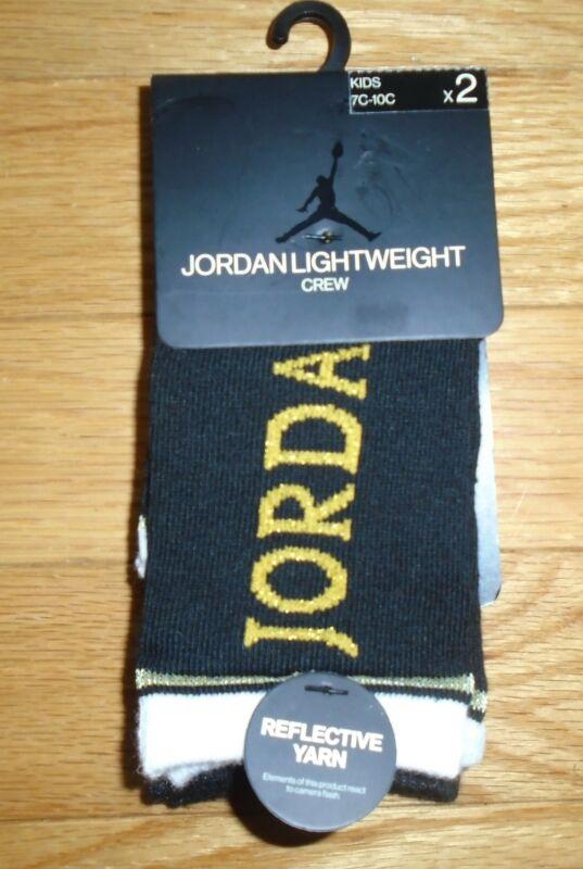 Nike Air Jordan Baby Socks Lightweight Crew 2 Pair Black Gold Toddler Shoe 7-10