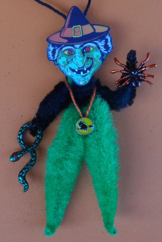WITCH with SPIDER & SNAKE chenille vintagey Halloween Tree ornament