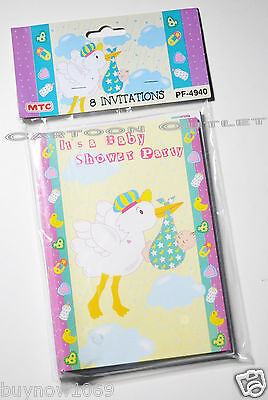 8 PC BABY SHOWER INVITATIONS STORK BABY SHOWER PARTY FAVORS BOY GIRL NIP CUTE](Cute Baby Shower Invitations)