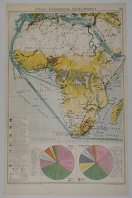 Africa Commercial Development Vintage 1928 Map