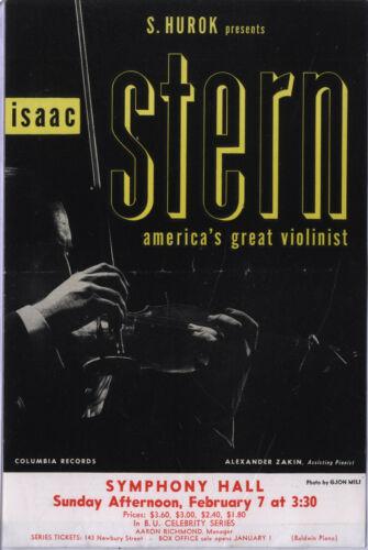 S. Hurok Presents Isaac Stern at Symphony Hall Boston Handbill
