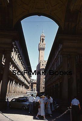 Uffizi Gallery - KODACHROME Red Border 35mm Slide Italy Florence Uffizi Gallery Old Cars 1958!!!