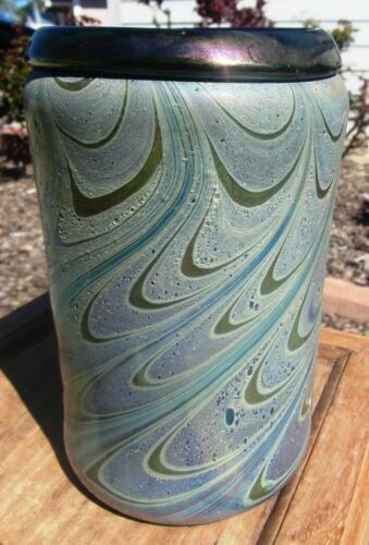 STUNNING LARGE ANTIQUE LOETZ? ART NOUVEAU IRIDESCENT  PATTERN VASE LUSTRE GLASS