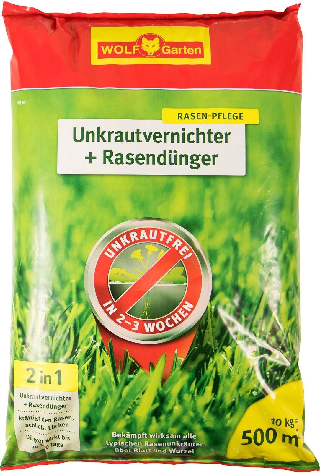 WOLF-Garten SQ 500 Unkrautvernichter plus Rasendünger 10kg für 500m²