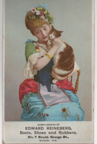 1890s Cardboard Advertising Sign Lady holding her Cat Reineberg Shoes York PA