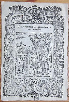 Post Incunable Leaf Rosario Woodcut Jesus Satan Venice - 1521